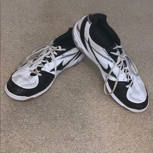 Black and White Asics volleyball shoe